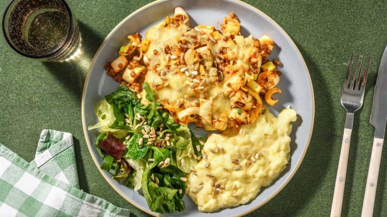 Linsengratin mit Kohlrabi-Kartoffel-Püree