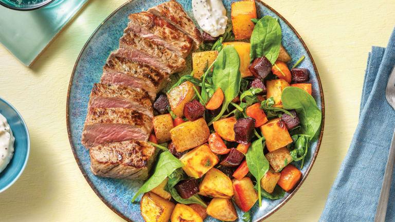 Seared Steak & Roast Veggie Toss