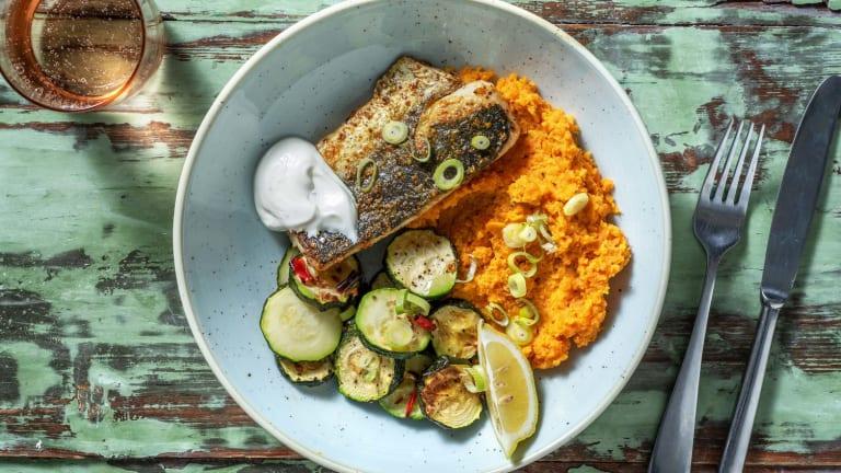 Madras Curry-Fisch mit Süsskartoffel-Rüebli-Püree