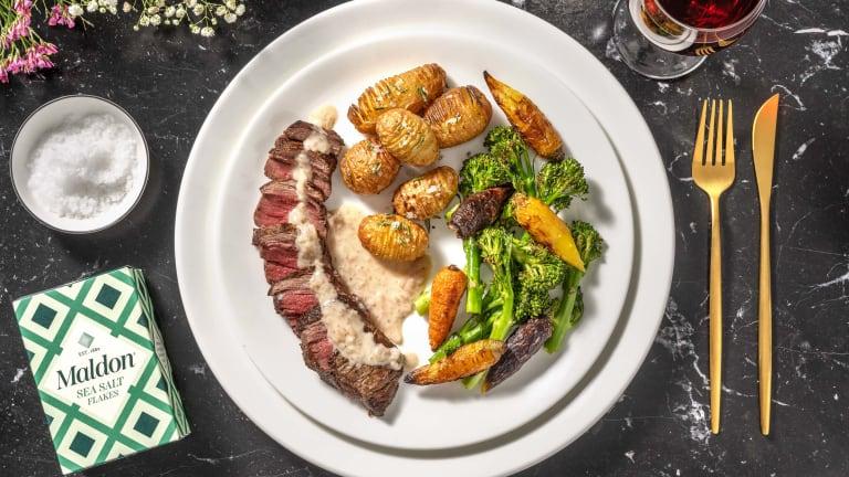 Sirloin Steak and Creamy Peppercorn Sauce