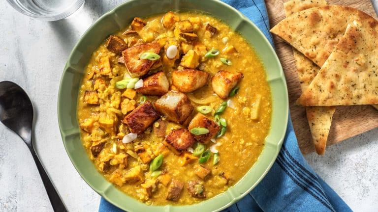 Mango Chutney Coated Halloumi & Sweet Potato Dal