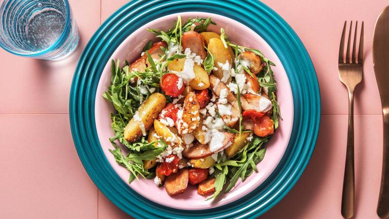Kartoffelsalat mit geräuchertem Hähnchen,