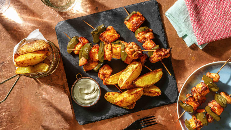 Mexican Chicken, Halloumi and Pepper Skewers