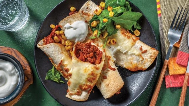 Mexican Fiesta Veggie Mince Enchiladas