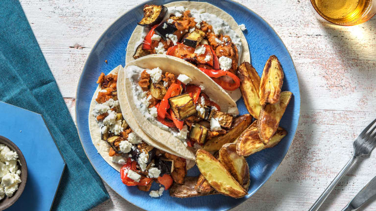 Middle Eastern Aubergine and Pepper Harissa Tacos