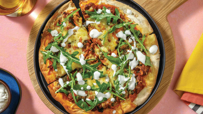 Middle Eastern Beef & Veggie Pizza