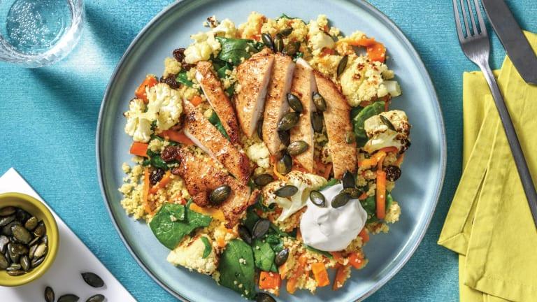 Mild North Indian Chicken & Veggie Couscous with Currants & Pumpkin Seeds