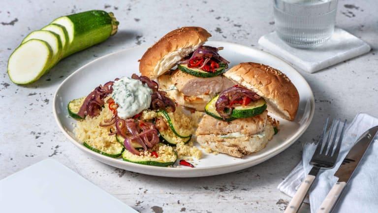 Mini-kipburgers met gegrilde groenten