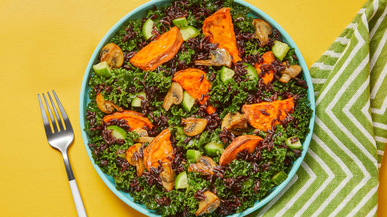 Black Rice, Mushroom & Miso Kale Salad