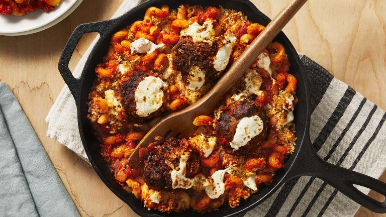 Mozzarella-Stuffed Meatball Bake