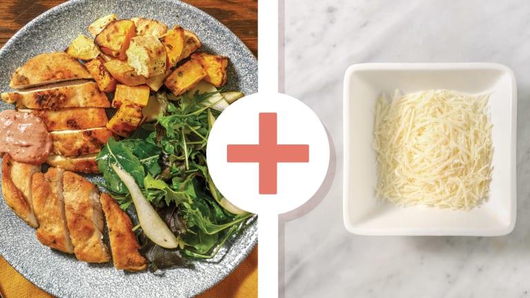 Easy Cheesy Chicken & Oregano-Roasted Veggies