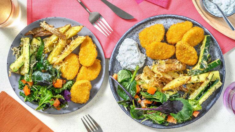 Nuggets de blé sauce ranch & frites de courgettes