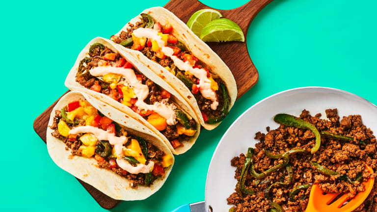 One-Pan Beef & Charred Pepper Tacos
