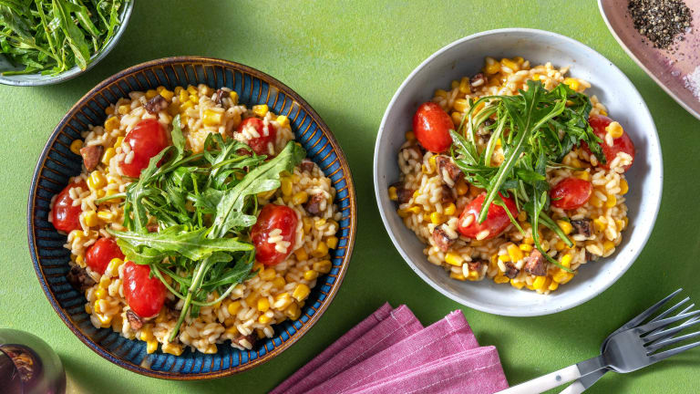 Oven-Baked Chorizo and Sweetcorn Risotto