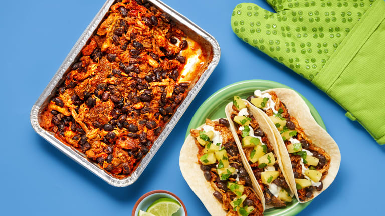 Oven-Ready Pulled Pork & Black Bean Tacos
