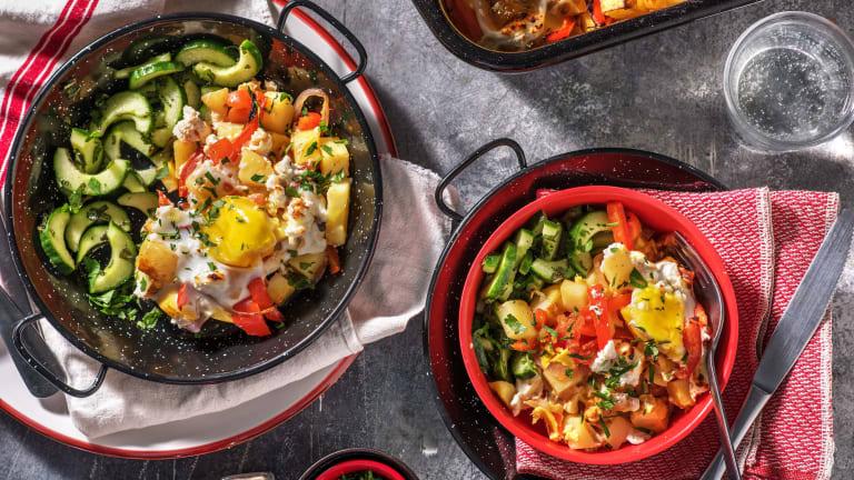Ovenschotel met groenten, ei en geitenkaas