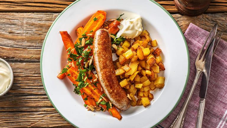 Paprika-amandelvarkensworst met patatas bravas