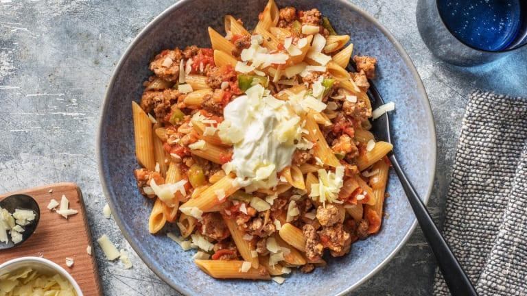 Snelle pasta met gehakt en Mexicaanse twist