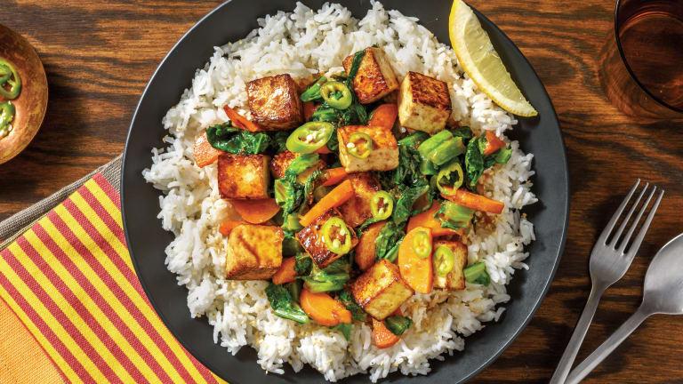 Peking Marinated Tofu & Sesame-Garlic Rice
