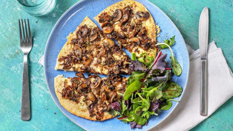 Pizza bianca aux champignons poêlés