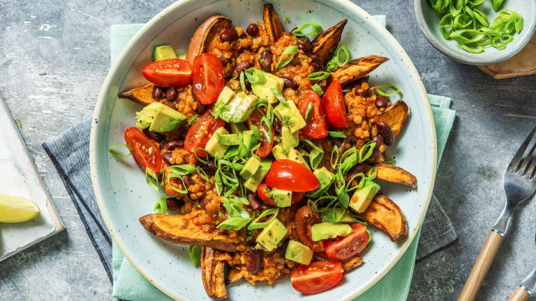 Veggie Chilli Loaded Sweet Potato Fries