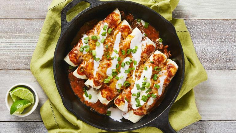 Plant-Based Protein Enchiladas Rojas