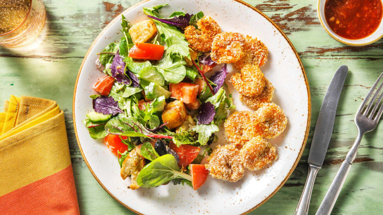Popcorn Shrimp and Chopped Salad