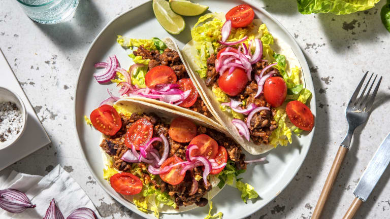 Pork and Black Bean Tacos with Pickled Red Onion,