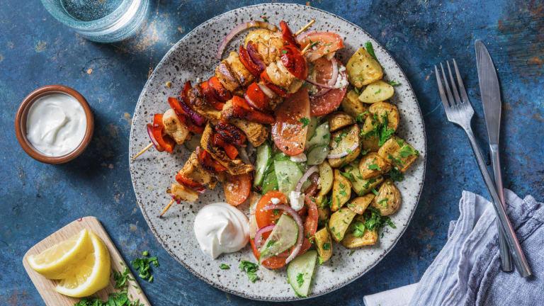 Pouletspiessli mit Souflaki-Kartoffeln