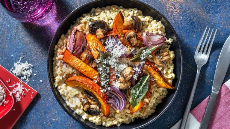 Parelgerst-risotto met geroosterde pompoen