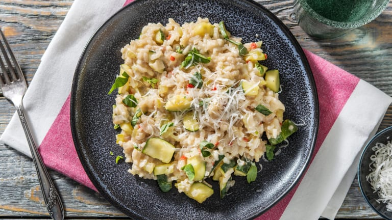 Risotto met courgette en buffelmozzarella