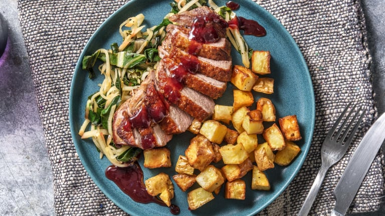 Pan-fried Duck with Garlicky Greens & Apple