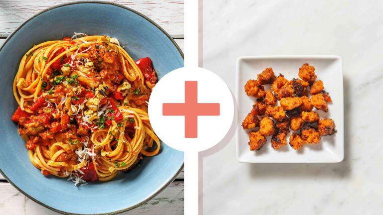 Roasted Pepper, Mushroom and Chorizo Linguine