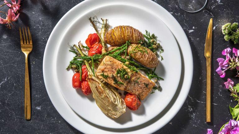 Roasted Salmon and Hasselback Potatoes