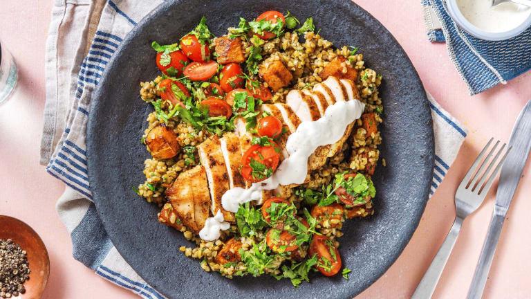 Roasted Shawarma Chicken and Squash Freekeh