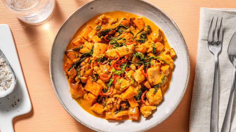 Roasted Sweet Potato and Ginger Garlic Chicken Stew