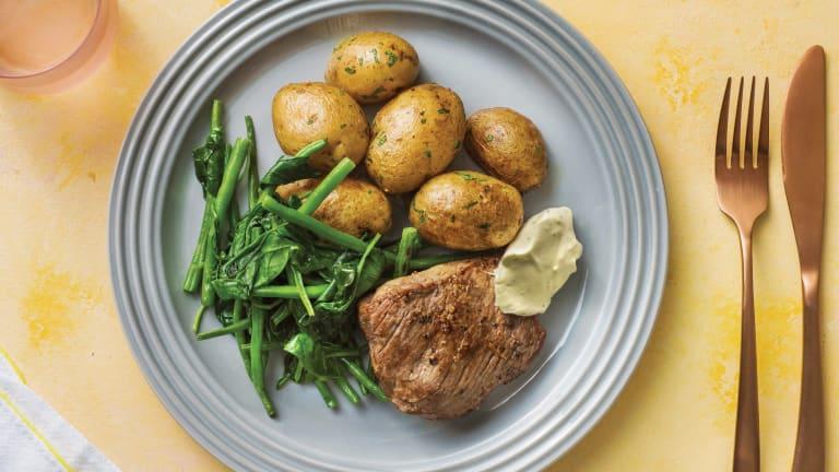 Seared Rump Steak with Chat Potatoes & Bearnaise