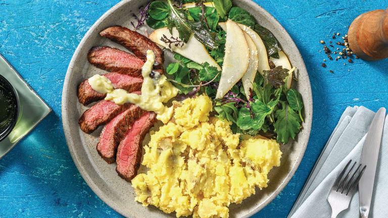 Seared Steak & Mustardy Crushed Potatoes
