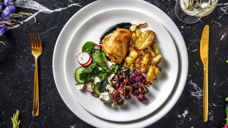 Salade d'automne et cuisse de poulet confite