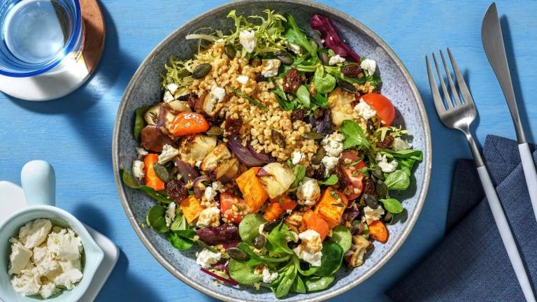 Salade de boulgour aux légumes rôtis & feta