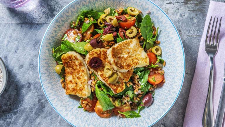 Greek Grain and Golden Halloumi Salad