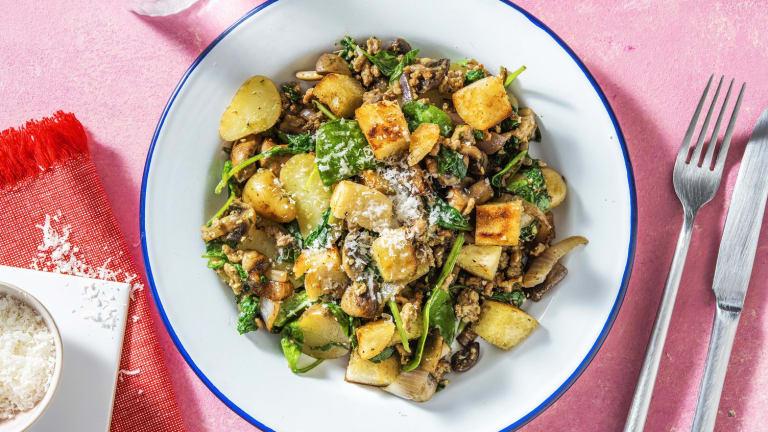 Krieltjessalade met gehakt en zelfgemaakte croutons