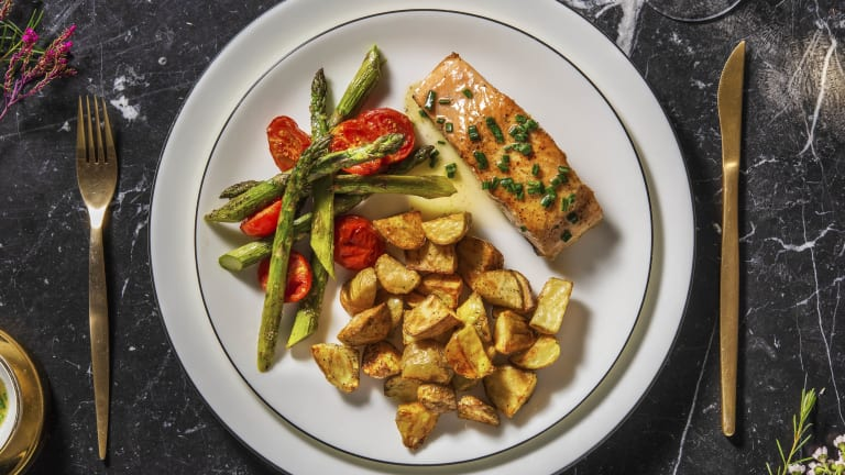 Seared Salmon and Chive Butter Sauce