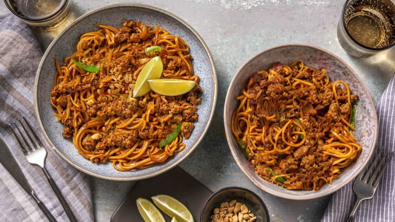 Satay Style Beef Mince and Noodles
