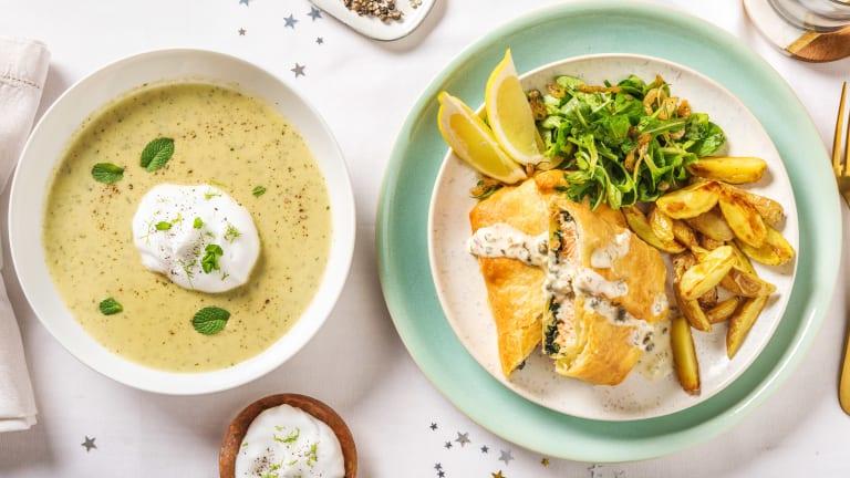 Zalm en croute met salade, kappertjes en krieltjes