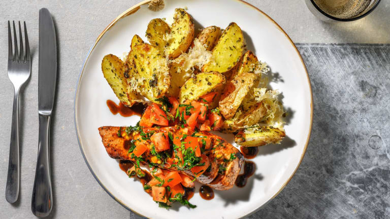 Bruschetta Balsamic Glazed Salmon