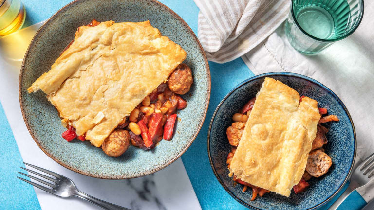 Sausage Meatball and Butter Bean Pie