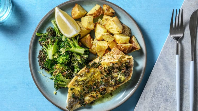 Sea Bream in a Lemon Garlic and Chive Butter Sauce