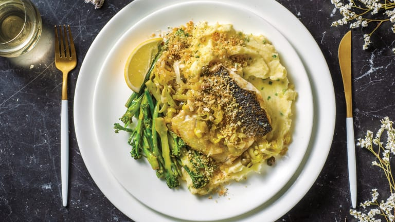 Seared Barramundi & Leek-Caper Sauce