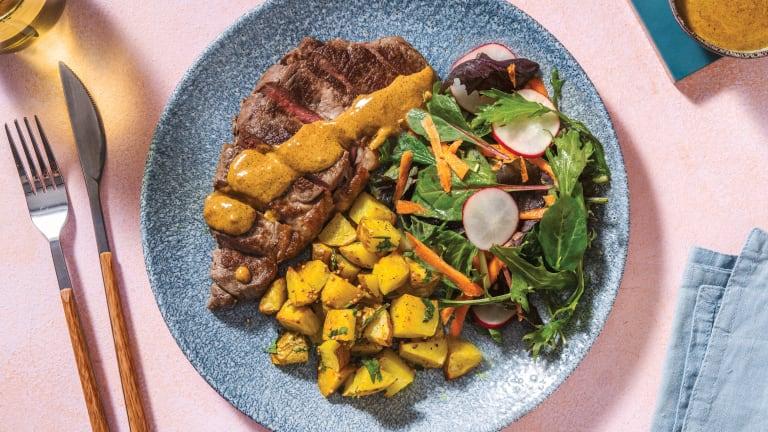 Seared Steak & Mumbai Coconut Sauce
